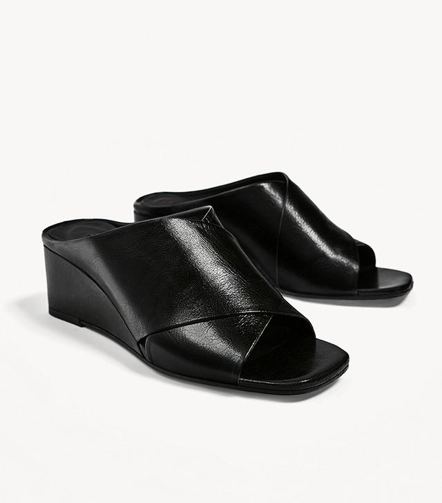 Zara Crossover Leather Wedges