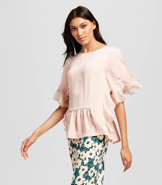 Who What Wear Fabric Mix Ruffle Top