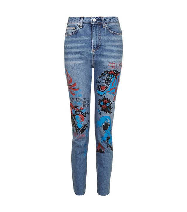Topshop Painted Straight Leg Jeans