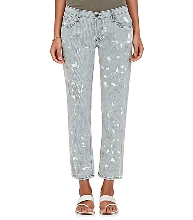 NSF Paint Splatter Striped Crop Skinny Jeans