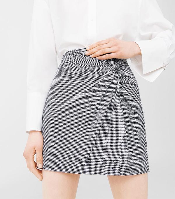 Mango Draped Printed Skirt