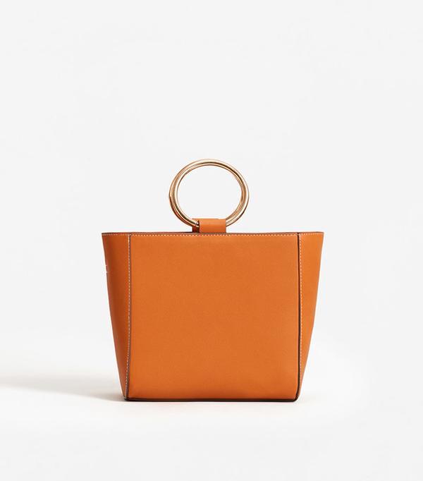 Mango Metallic Handle Tote Bag