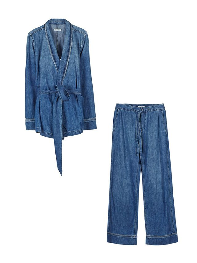 Equipment Lafayette Pajama Set in Blueprint Chambray