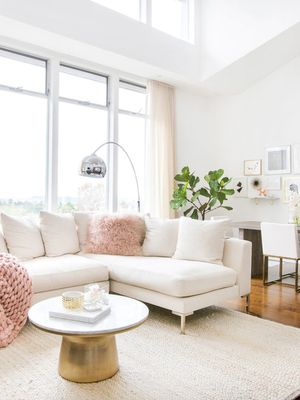 Blush, Brass, and White All Over—We're Obsessed With This Glam Abode