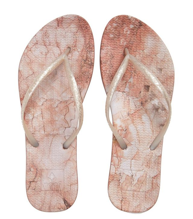 Reef Escape Lux Print Flip-Flops in Blush Marble