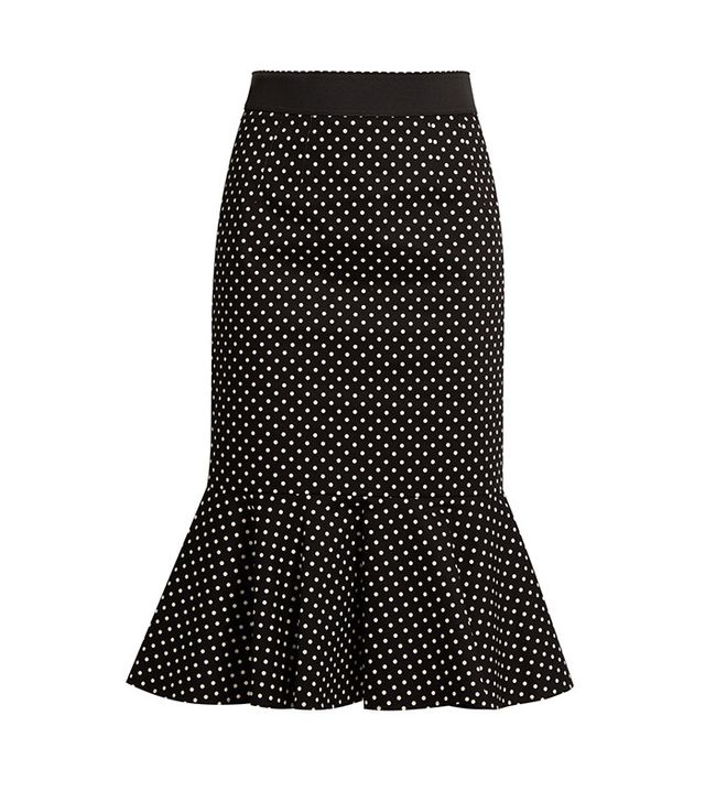 Dolce and Gabbana Polka-Dot Print Stretch-Cotton Midi Skirt