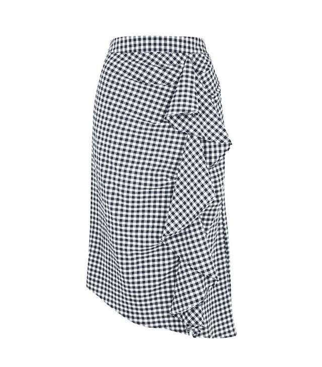 Topshop Gingham Ruffle Midi Skirt