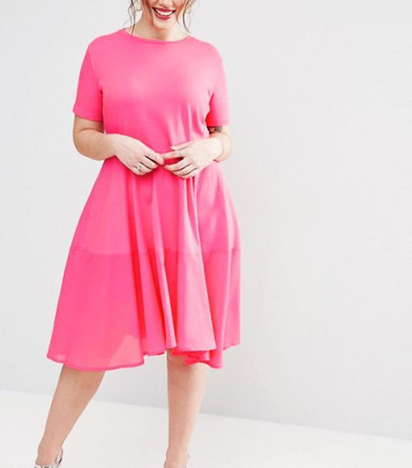ASOS Curve Skater T-Shirt Dress with Woven Cotton Hem Detail
