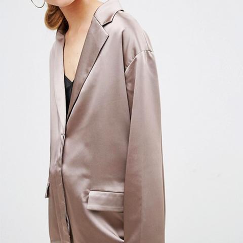 Satin Jacket With Draw Hem Detail