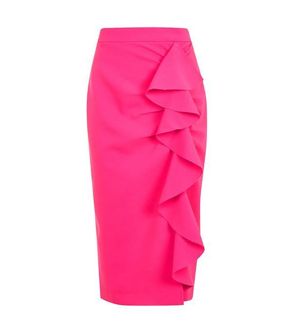 Topshop Ruffle Crepe Midi Skirt