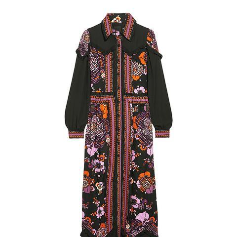 Posey Chiffon-Paneled Floral-Print Twill Maxi Dress