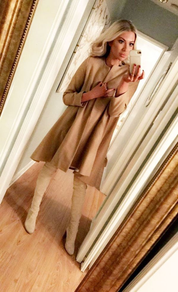 """On StassiSchroeder:Morgan Clifford Jane Coat in Camel ($349); Stuart Weitzman Highland Over the Knee Bootin Topo($798) """"I like to play with shapes when it comes to coats, and this is one..."""