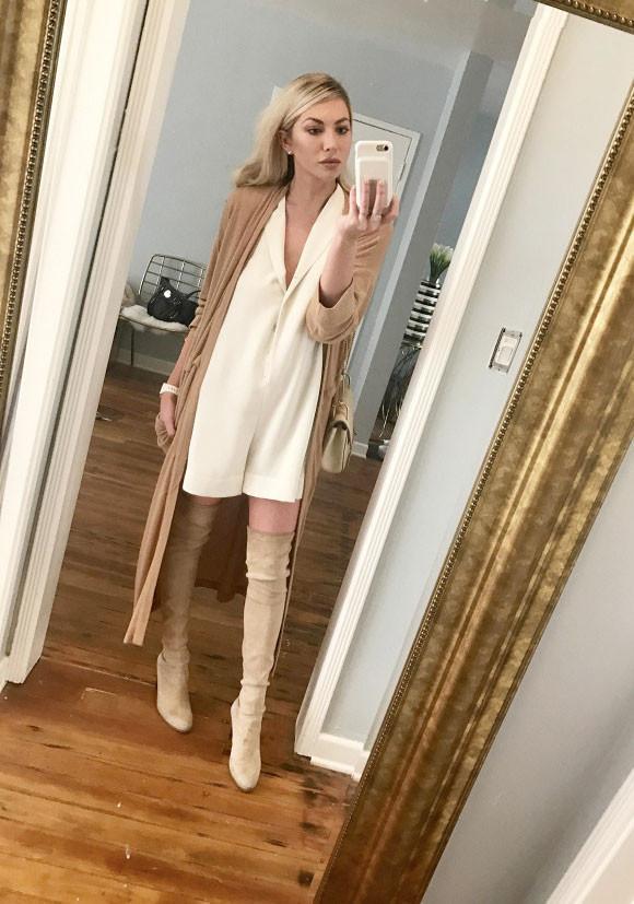 "On StassiSchroeder:Zara Romper; Drifter Sweater;Chloé Drew Small Crossbody ($1,850);Stuart Weitzman Highland Over the Knee Bootin Topo($798). ""This is a great seasonally..."