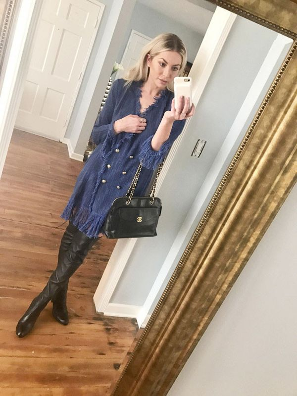 """On Schroeder:Thurley Dress; Chanel Bag; Stuart Weitzman boots. """"I don't want to give off overtly sexy vibes, so dealing with a pair of black leather boots is a delicate thing for me. This is..."""