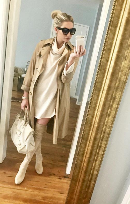 On StassiSchroeder:The Laundry Room Kennedy Dress ($127); A.P.C.Greta Trench Coat($660); Celine Sunglasses; Balenciaga Ponyhair Motocross City Bag ($795); Stuart Weitzman Highland Over the...