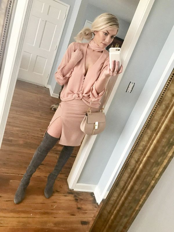 """On Schroeder:L'Academie The 70's Tie Neck Blouse($168); Chloé Drew Small Crossbody ($1,850); Stuart Weitzman Highland High Heel Over The Knee Boots($798). """"I like that there is just a hint..."""
