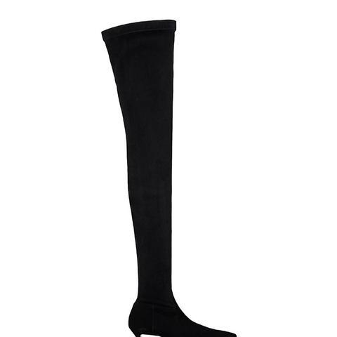 Broken-Heel Suede Over-the-Knee Boots