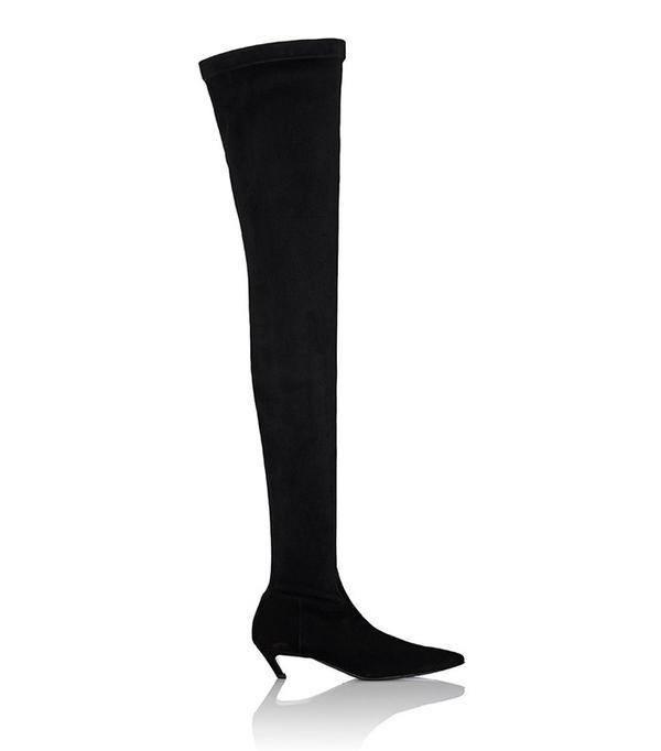 Balenciaga Broken-Heel Suede Over-The-Knee Boots