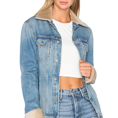Daria Oversized Denim Trucker Jacket With Sheep Fur Trim