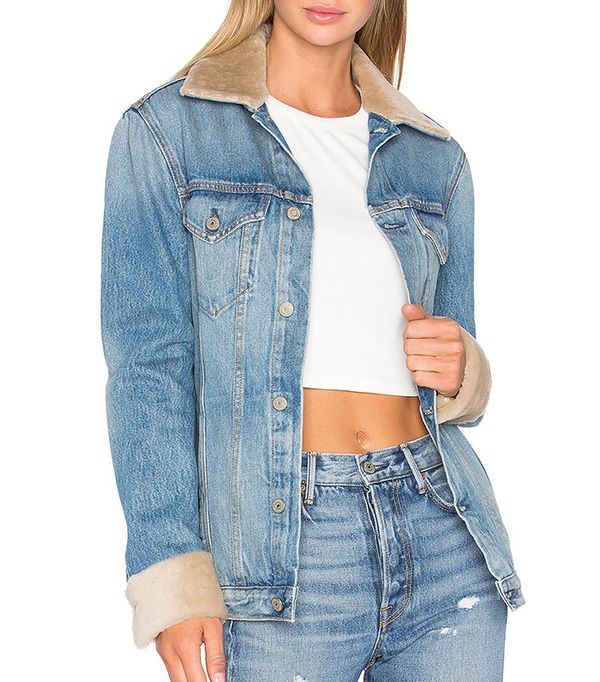 Grlfrnd Daria Oversized Denim Trucker Jacket with Sheep Fur Trim