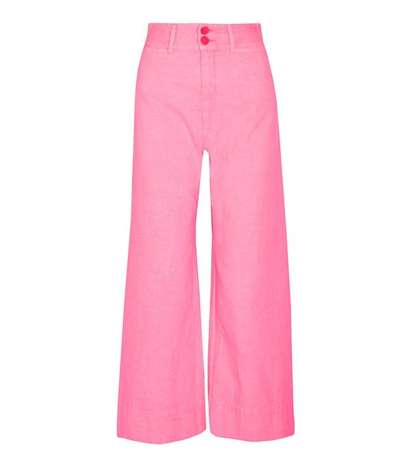 Apiece Apart Cropped Crinkled-Cotton Wide-Leg Pants