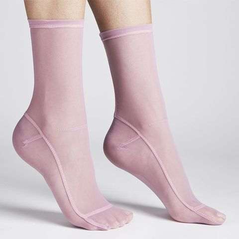 Solid Pink Mesh Socks