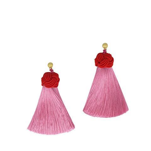 Cherry Top & Peony Pink Tassel Topknots