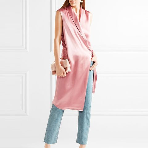 Silk-Charmeuse Wrap Vest