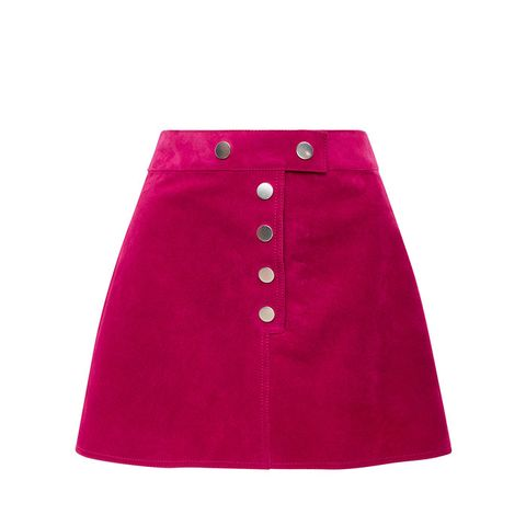 Fushia Suede Mini Skirt