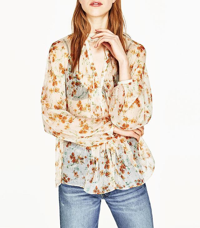 Zara Floral Print Crepe Blouse