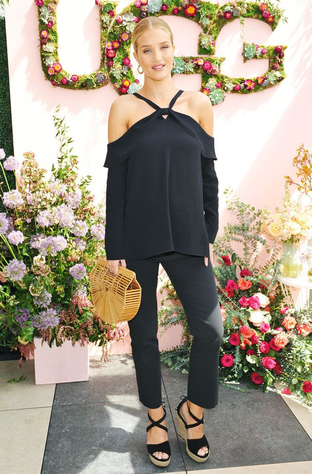 On Rosie Huntington-Whiteley: Proenza Schouler Crepe Top(£720) and Ugg Espadrilles.