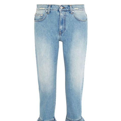 Distressed Ruffle-Trimmed High-Rise Straight-Leg Jeans
