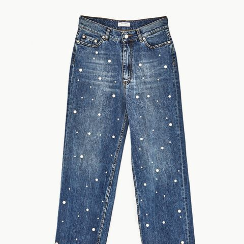 High Rise Jeans With Pearl Beads