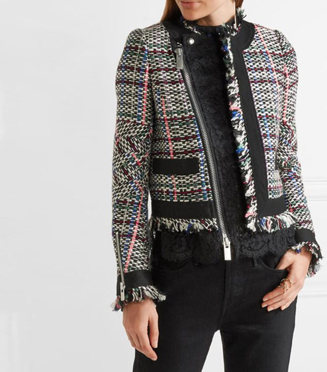 Sacai Corded Lace and Twill-Trimmed Tweed Jacket