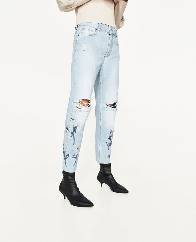 Zara High Rise Jeans wtih Embroidery