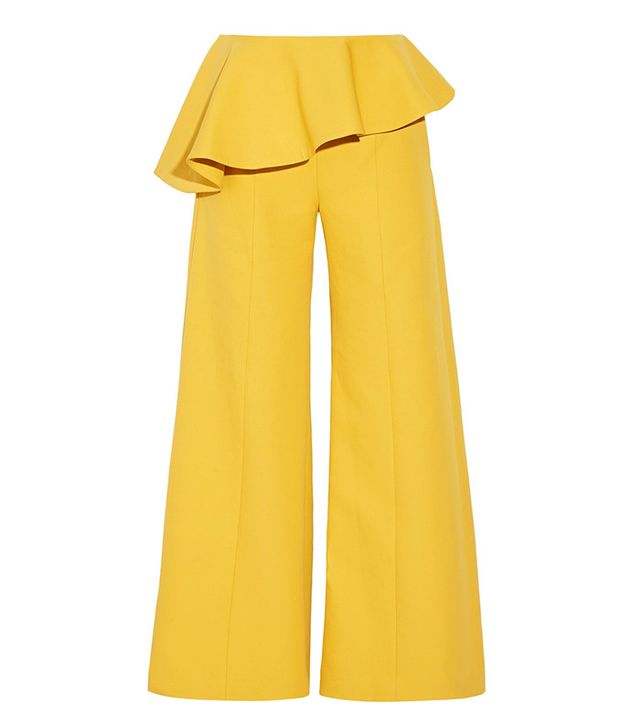 Rosie Assoulin Bearded Iris Peplum Cotton-Twill Wide-Leg Pants