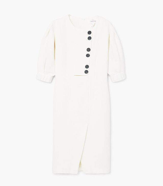 Mango Linen-Blend Midi Dress