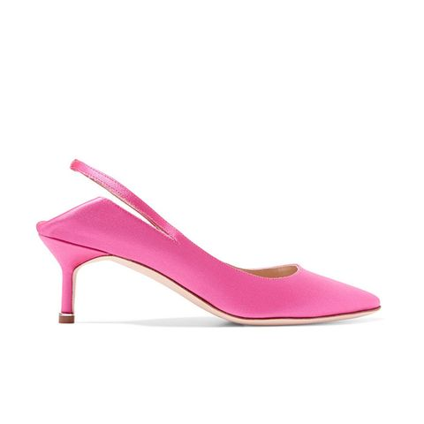 Blahnik Satin Slingback Pumps