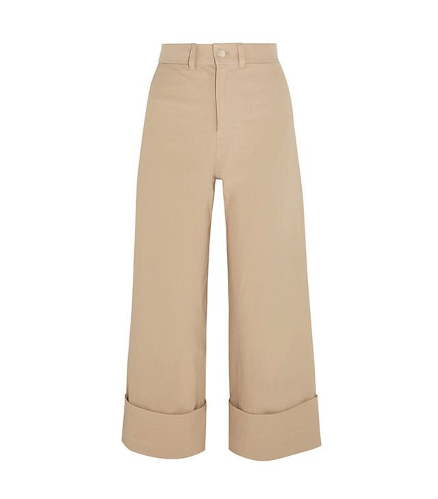 Sea Cropped Stretch-Canvas Wide-Leg Pants