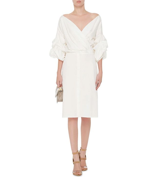 Johanna Ortiz White Cotton Tuxedo Dress