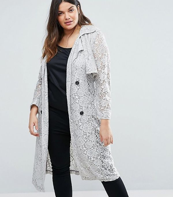 Elvi Plus Lace Trench