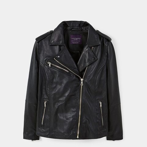 Zip-Detail Leather Biker Jacket