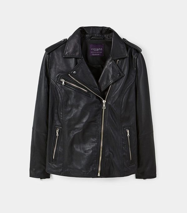 Violeta Zip-Detail Leather Biker Jacket