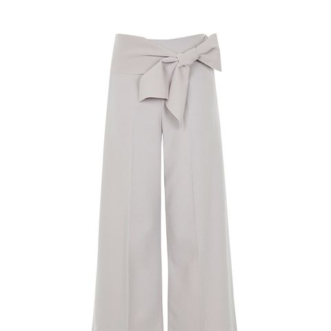 Tie Belt Crop Wide Leg Trousers