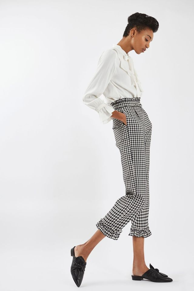 Topshop Gingham Frill Trousers