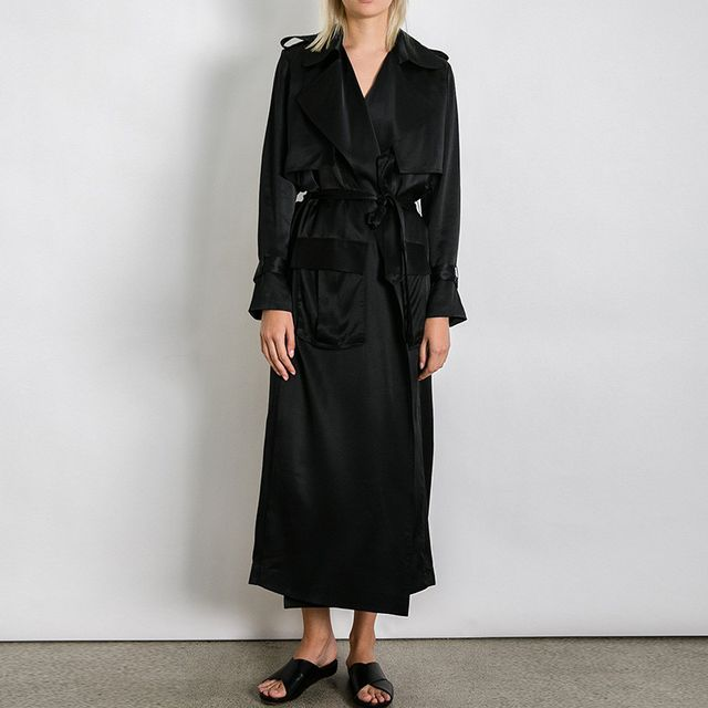 Michael Lo Sordo Relaxed Silk Trench Coat