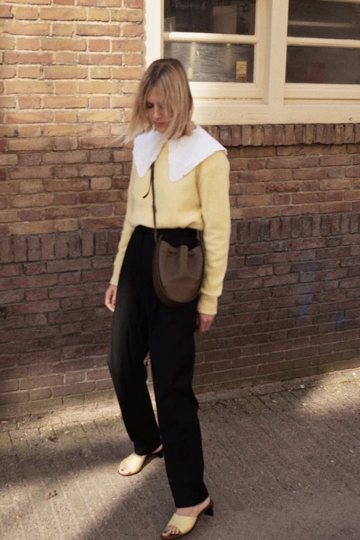 Spring weekend outfit ideas: collared blouse and tailored trousers