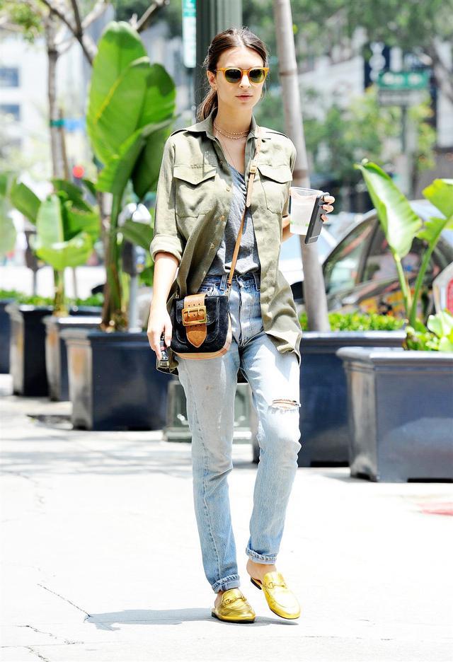 Emily Ratajkowski wearing Gucci mules