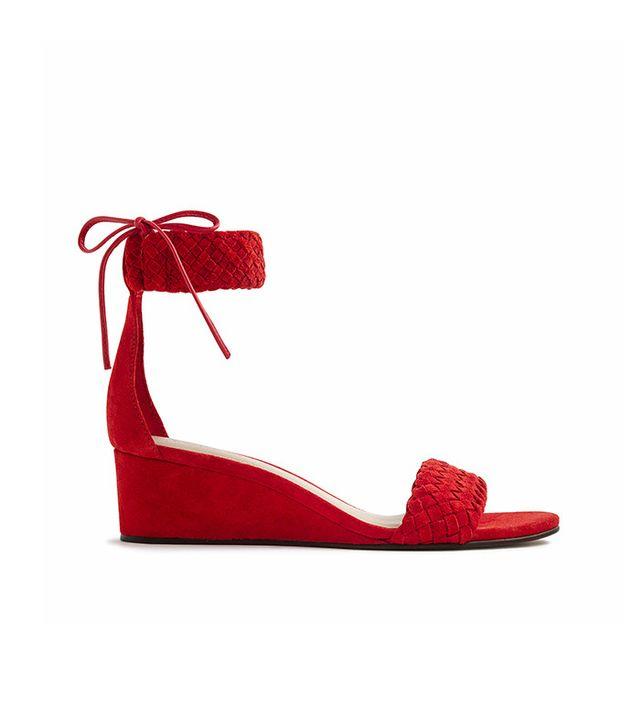 Woven Suede Wedge Sandals