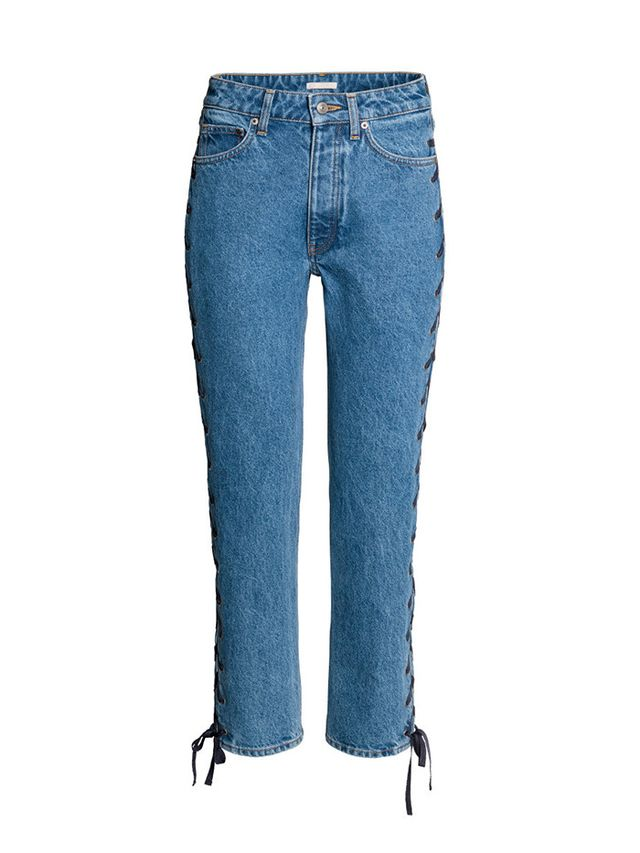 H&M Straight Lace-Up Ankle Jeans